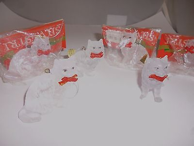 6 Silvestri Frosted Acrylic Glass Crystal Look Cat Ornaments Kittens Christmas