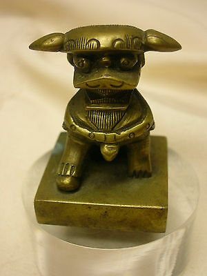 """Vintage Solid Brass 1 3/4"""" Chinese Foo Dog Figurine Paperweight Wax Stamp Seal"""