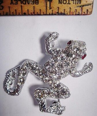 Frog Pin Rhinestone Brooch with Red Eyes 3D Pin VTG