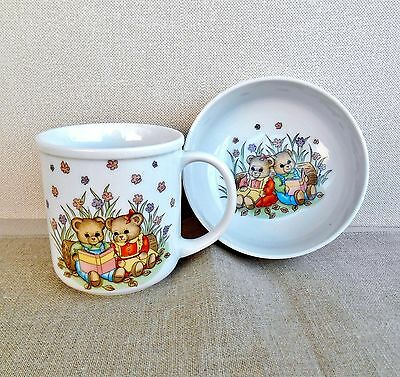 "Takahashi Porcelain Child""s Cup and Bowl With Teddy Bears 2 Piece"