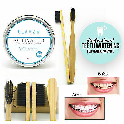 Coconut Charcoal Teeth Whitening Powder Mint Flavour Shell & Bamboo Toothbrush