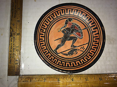 Older Hand Made Greece Clay Pottery Plate Painted Warrior with Spear marked