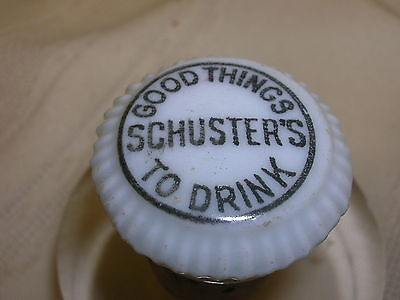 Vintage Porcelain Cork Soda Fountain Schuster's Good Things To Drink