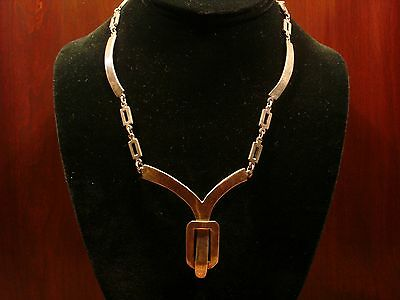 "Beautiful Vintage Southwestern Sterling Silver Necklace.925 (18""-Long)"