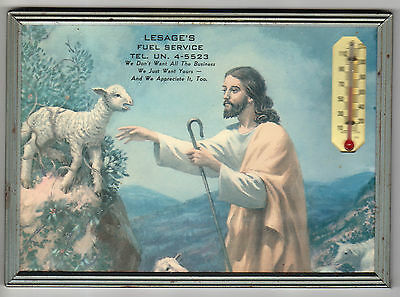 Vintage Fuel Advertising Wall Thermometer Picture Of Jesus Rescuing a Stuck Lamb