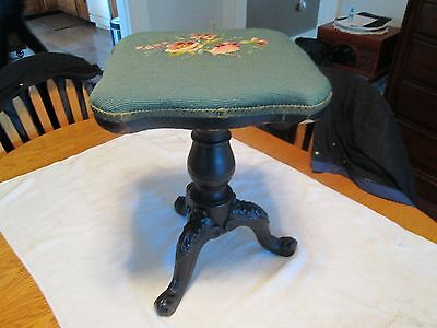Antique Piano Stool Neppert 1800's NYC Rare Iron Legs Victorian AAFA Industrial