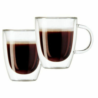 2pk Double Wall Thermo Glass Glasses Cup Mug CoolTouch Hot Cold Drink Coffee tea