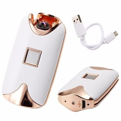 White Fingerprint Touch Rechargeable Dual Arc Flameless Plasma Electric Lighter