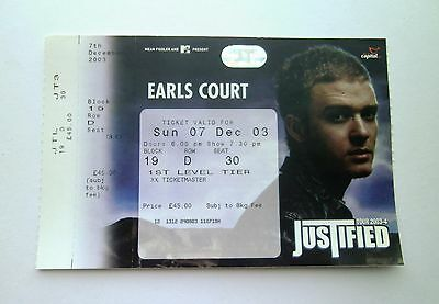 JUSTIN TIMBERLAKE TICKETS Ticket Stub(s) Earls Court London 07/12/03 Memorabilia
