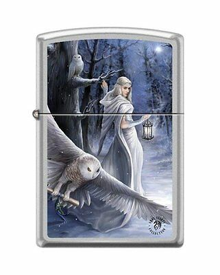 Zippo 7423, Anne Stokes-Woman & Owls, Satin Chrome Finish Lighter, Full Size