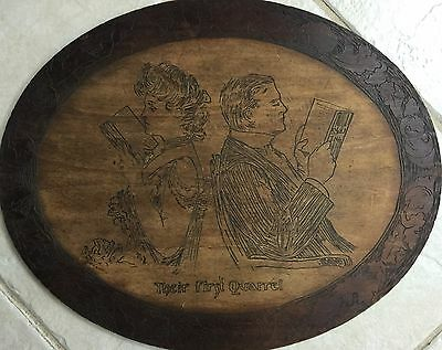 """Vintage Antique Wall Hanging """"pyrography"""" Entitled """"their First Quarrel"""""""