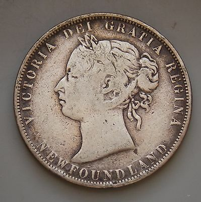 """1898 - Obverse 1 Small """"W"""" Newfoundland Canada 50 Cent Canadian Victoria Coin"""