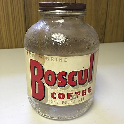 Vintage Boscul Coffee Glass Jar Country Store Advertising