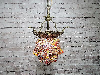 Antique Vintage Chandelier Small Art Glass Deco With Bronze Pendant Rewired