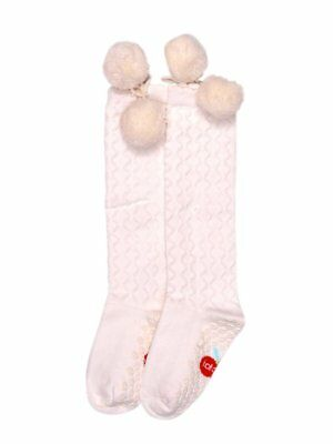 Knee High Cream Pom Pom Socks