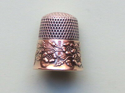 Antique Sewing Sterling Silver Ketcham Mcdougall Floral Design  Size 8 Thimble