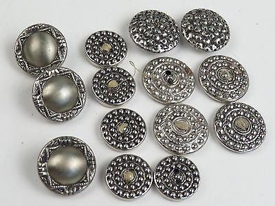 Antique Silver Button Lot of 14 UNUSUAL