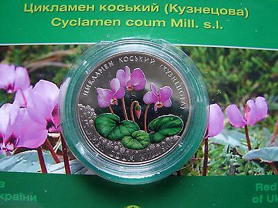 2 Hryvni 2014  CYCLAMEN COUM Flower  sUNC Coin ! Sealed