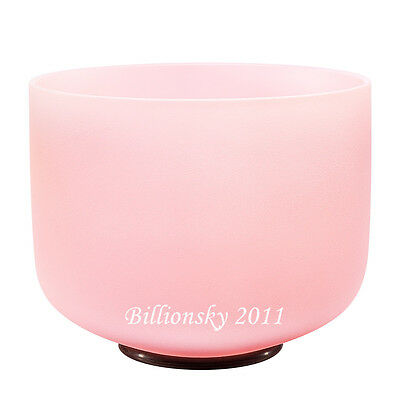 """Pink Colored Frosted F Heart Chakra Quartz Crystal Singing Bowl 10"""""""