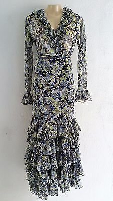 Flamenco skirt Outfit two piece set new size Medium  Stretch mesh floral