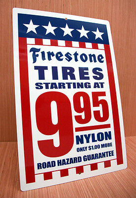 Firestone Tires Red White And Blue Ad Sign Garage Gas Station Performance Shop