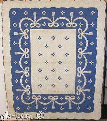 AMAZING c 1930s Rope Tassel Swag Antique QUILT stuffed BLUE White