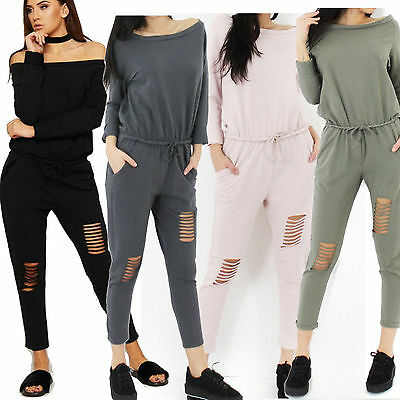Ladies Women Off Shoulder Rip Cut Knee Lounge Wear Tracksuit All in one Jumpsuit