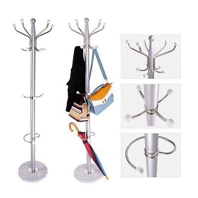 Metal Clothes Hat Coat Umbrella Stand Rack Garment Hanger 15 Hook Marble Base