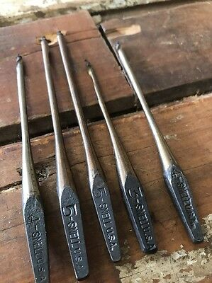 5 Vintage Snell USA Brace Bits Old Tool Antique Woodwork Wood New Old Stock