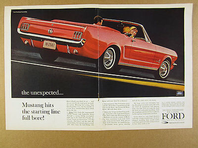 1964 Ford Mustang Convertible red car color photo vintage print Ad