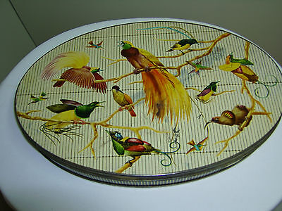 VINTAGE 50s CANDY / BISCUIT TIN  EXOTIC BIRDS OF FLIGHT AMAZON CHOCOLATE
