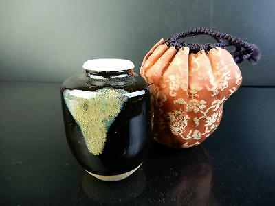 F2725: Japanese Seto-ware Sea cucumber glaze TEA CADDY Chaire Container Shifuku