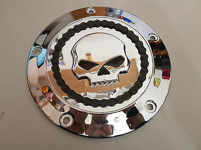 Harley Davidson Skull & Chain Collection Derby Cover Jeweled Skull Chrome