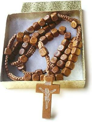 Wood Rosary Prayer Beads Cord Wooden Cross Necklace Brn