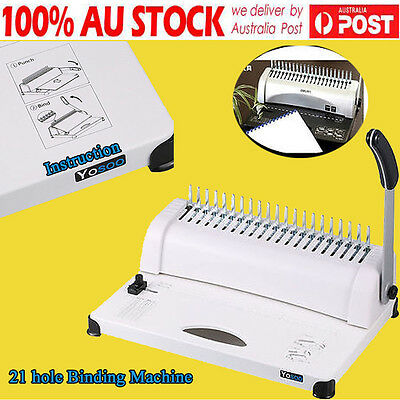 Office Paper Comb Binding Machine Standard 21 Hole Plastic Coil Punch Binder -DH