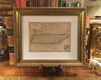 Framed Original 1908 Antique Map TENNESSEE Fine Adornment of Tennessee History