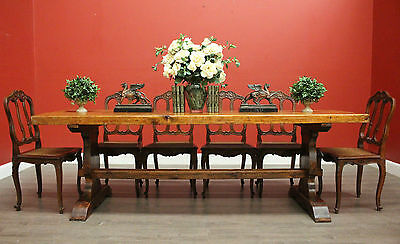Antique French Slab Stretcher Base Refectory Twin Pedestal Dining Kitchen Table