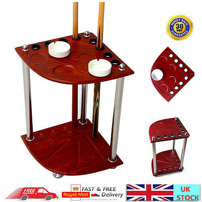 Wooden Pool Snooker Billiard Corner Cue Rack Stand With Drink Holder Stick Rack