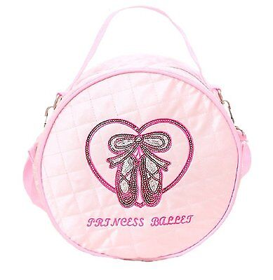 Quilted Glossy Dance Ballet Round Bag for Little Girls - Light Pink