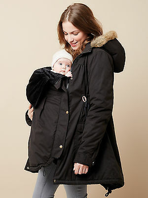 Vertbaudet Colline Ladies Adaptable Maternity Parka Black Size 10 (38) New (402)