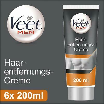 Veet for Men 6er Pack Haarentfernungs Gel Creme Rasur Haar Entfernung 200 ml