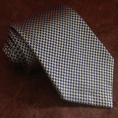 Authentic TURNBULL & ASSER 100% Silk HOUNDSTOOTH Men's Neck Tie Made In ENGLAND