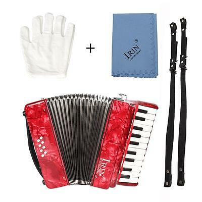 22-Key 8 Bass Piano Accordion with Straps Gloves Cleaning Cloth Red S8D6