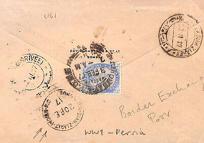 MS2153* 1917 WW1 India Military Cover *Meshed* ARABIA Pakistan BORDER EXCHANGE
