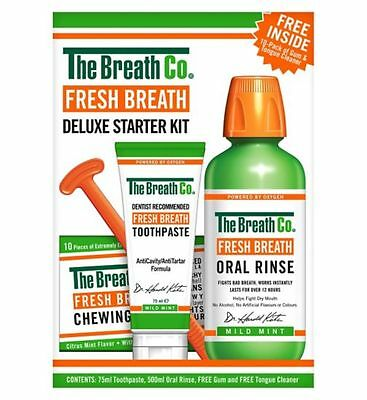 The Breath Co Fresh Breath Deluxe Starter Kit, Oral Rinse, Toothpaste, Gum