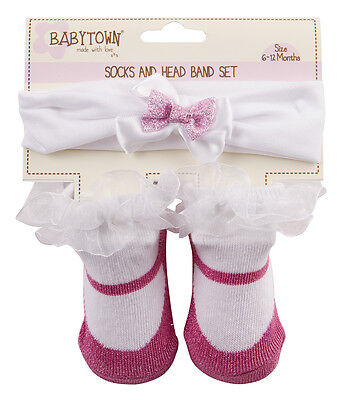 Baby Girl New Cute glitter lace  Socks And Headband Set  0- 6 12 Months 3 colors