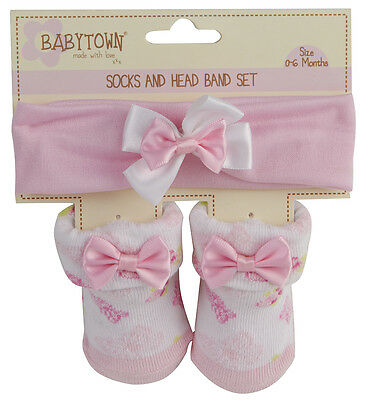 Baby Girl New Cute butterfly / heart Socks And Headband Set  0- 6 12 Months