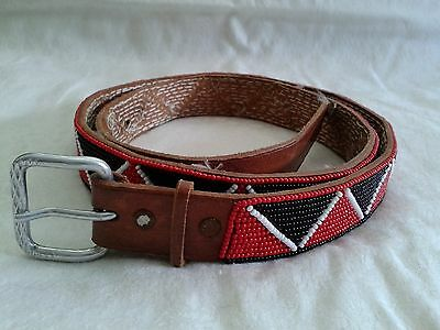 """Vintage HAND BEADED BELT w/Native American Pattern Leather Sz 31"""" to 34"""""""