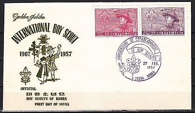 / South Korea, 245-246. 50th Anniv. of Scouting issue on a FDC. English Cancel.
