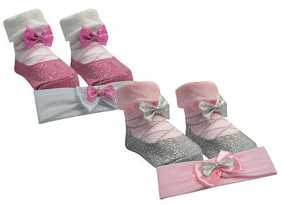 Baby Girl New Cute sparkle lace  Socks And glitter Headband Set  0- 6 12 Months